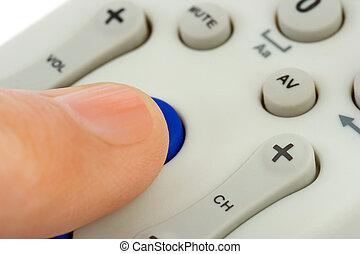 手, 推, 按鈕, 上, 遙控