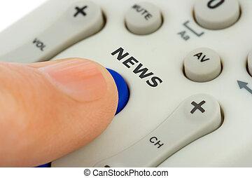 手, 推, 按鈕, 新聞
