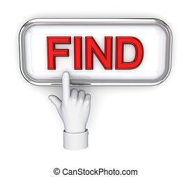 手, 推, 按鈕, find.