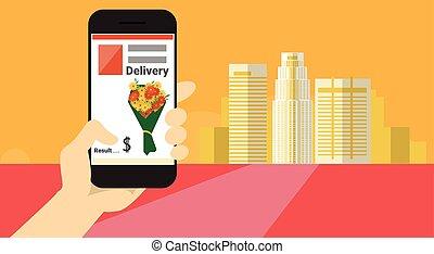 手, 握住, 細胞, 聰明, 電話, 應用, 在網上, 花傳送, 旗幟