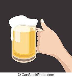 手, 握住, a, 杯啤酒