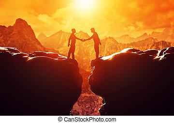 手, 握手, 上に, 男性, 2, deal., precipice., 振動, ビジネス
