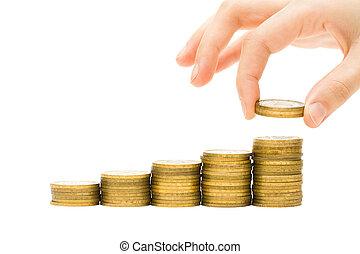 手, 放, 硬幣, 上, 黃金, 錢, 堆