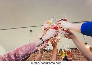 手, 政党。, 香槟酒玻璃杯, 人们