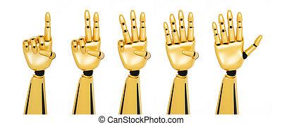 手, 数, 提示, 金, ロボティック, 3d