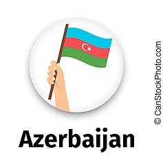 手, 旗, アイコン, アゼルバイジャン, ラウンド