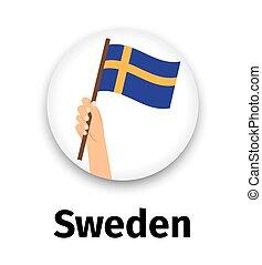 手, 旗, アイコン, スウェーデン, ラウンド