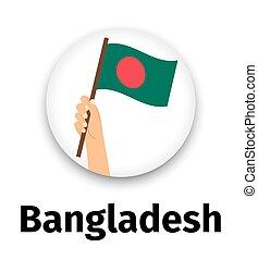 手, 旗, アイコン, バングラデシュ, ラウンド