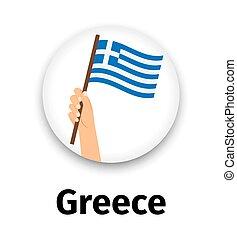 手, 旗, アイコン, ラウンド, ギリシャ