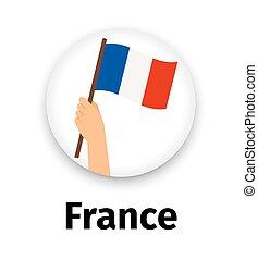 手, 旗, アイコン, ラウンド, フランス