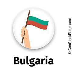 手, 旗, アイコン, ラウンド, ブルガリア