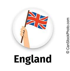 手, 旗, イギリス\, ラウンド, アイコン