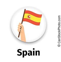 手, 旗, ラウンド, スペイン, アイコン