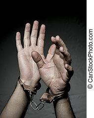 手, 暴動, handcuffs., concept., 刑務所