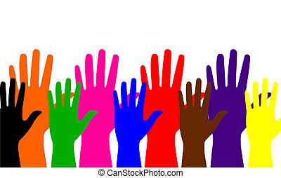 手, 有色人種