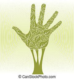 手, 木。