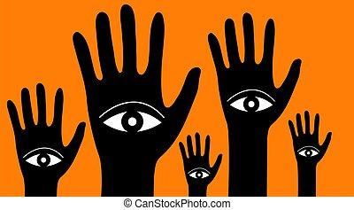 手, 概念, eyes., 森林, 精神分裂症