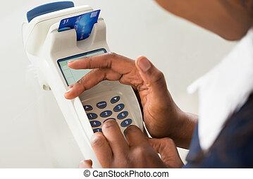 手, 機器, 信用, 使用, 人的, 卡片