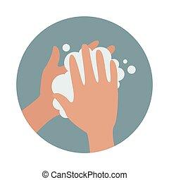 手, 洗浄, アイコン, 石鹸