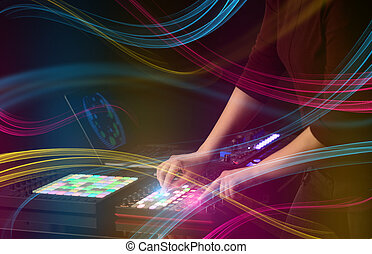 手, 混合, dj, 上に, midi, コントローラー, ∥で∥, カラフルである, vibe, 概念