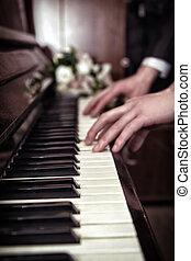 手, 演奏音樂, 上, the, 鋼琴