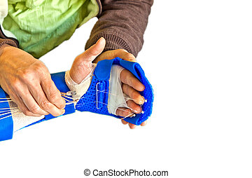 手, 物理療法, へ, 回復しなさい, a, 指
