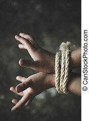 手, 犠牲者, 欠けている, 痛み, concept., 暴力, の上, 結ばれた, ロープ, に対して, 人間, 子供, 乱用された, 誘拐された, 子供, 取引