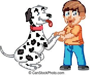手, 犬, 振動, 人, ダルマチア語