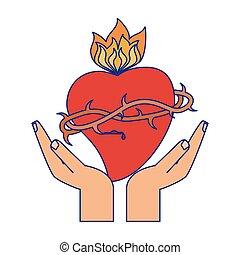 手, 由于, 神圣的心, 由于, flamme, 藍色的線