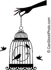 手, 由于, birdcage, 矢量