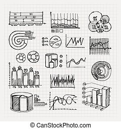 手, 画, 商业, 图表