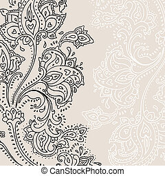 手, 畫, 佩斯利螺旋花紋呢, ornament.