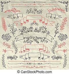 手, 畫, 植物群的設計, 元素, 上, 弄皺紙