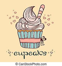 手, 畫, 矢量, 插圖, cupcake