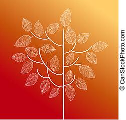 手, 畫, 葡萄酒, 樹, 由于, 漂亮, 細節, 在上方, 每一個, leaf., 秋天, 季節, 概念, 背景。,...