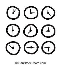 手, 畫, 鐘, 矢量, 圖象, 集合, 插圖