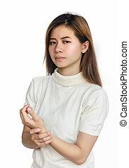 手, 痛み, 女, アジア人
