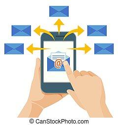 手, 発送, コマーシャル, メッセージ, から, 移動式 電話, へ, 人々