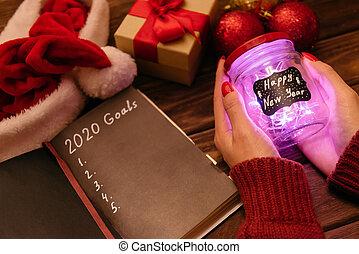 手, 白熱, 女性, 幸せ, 碑文, holiday., 新しい, ジャー, 年