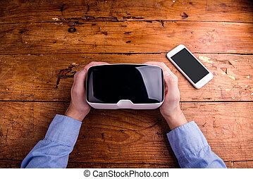 手, ......的, 人, 藏品, 虛擬現實, 風鏡, 以及, smartphone