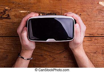 手, ......的, 人, 藏品, 虛擬現實, 風鏡, 木製的桌子