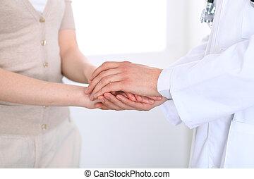 手, ......的, 醫生, 向再保証, 她, 女性, 病人