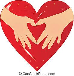 手, ......的, the, heart...