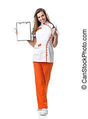 手, 看護婦, 美しい, 彼女, フォルダー, 若い