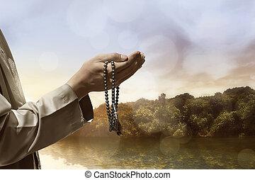 手, 祈ること, muslim, 人々