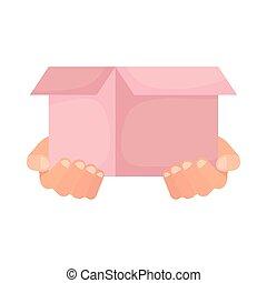 手, 箱, 持ち上がること, 慈善, 寄付