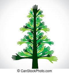 手, 緑の木