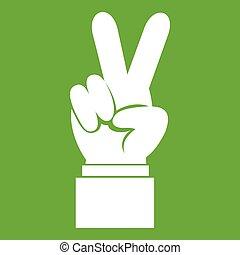 手, 緑, 勝利, アイコン, 印
