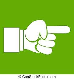 手, 緑, 指すこと, ジェスチャー, アイコン