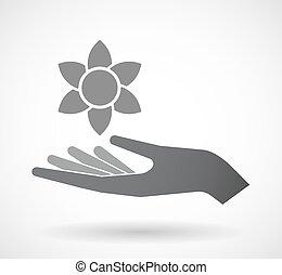 手, 花, ロータス, 隔離された